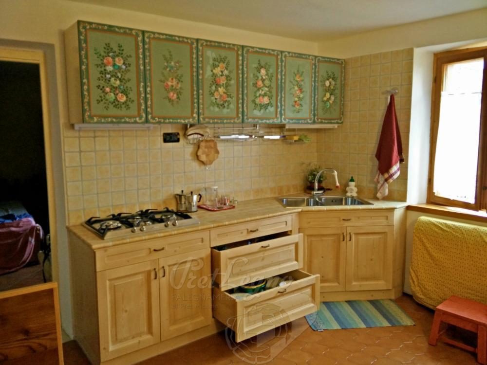 base cucina in abete cerato
