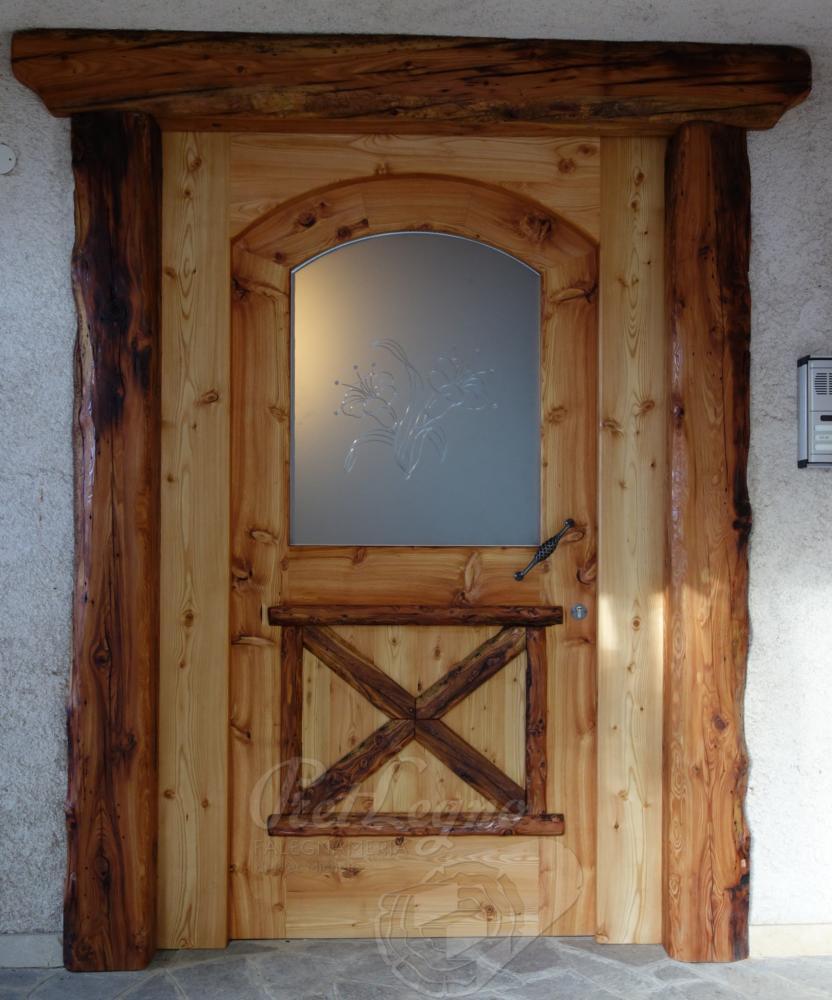 porta entrata in larice rustico